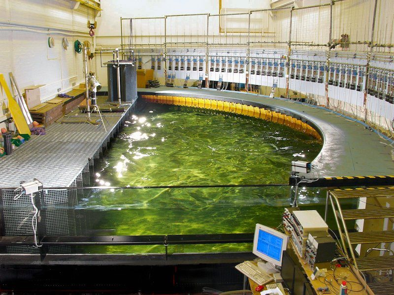 Curved wave tank at the University of Edinburgh, UK. We tested here first in 2003. © University of Edinburgh