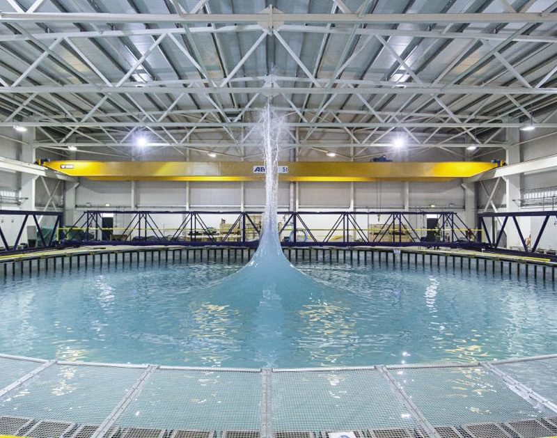 FloWave TT wave basin at the University of Edinburgh. We tested here for over 8 weeks in 2016 & 2017 as part of Wave Energy Scotland projects. © University of Edinburgh